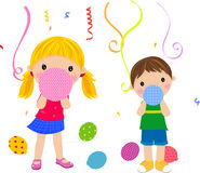 Kids and balloon Stock Images
