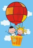 Kids and balloon. Vector icon. Ballon flight Stock Images