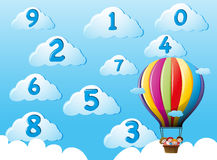 Kids on balloons counting numbers. Illustration Royalty Free Stock Photos