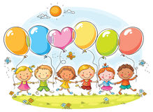 Kids with Balloons. Happy kids outdoors with balloons with copy space, no gradients