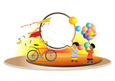Kids with balloons and kites Royalty Free Stock Images