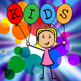 Kids Balloons Shows Youths Female And Youngster. Kids Balloons Indicating Young Woman And Youngster Stock Photography