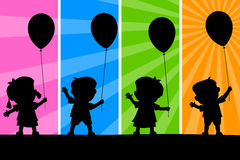 Kids and Balloons Silhouettes. Four cartoon kids silhouettes holding balloons, on a funky and colorful background. Eps file available Stock Photography