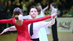 Kids ballroom dancing couple stock video
