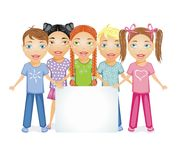 Kids with banner. Vector illustration of kids with banner Royalty Free Stock Image