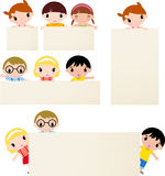Kids and banner Stock Photo