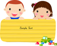 Kids and banner Stock Images