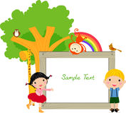 Kids and banner. Illustration art Stock Image