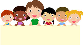Kids and banner. Happy girls and boys and banner-illustration Stock Photography
