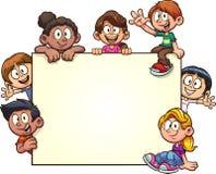 Cartoon kids with big blank banner
