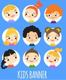 Kids banner with cartoon children faces. Colorful avatars of boys and girls. Template for flyer, banner royalty free stock images