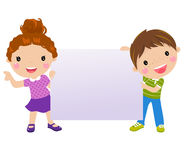 Kids and banner. Cartoon illustration Stock Image