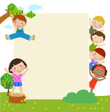 Kids and banner Stock Image