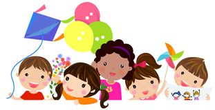 Kids and banner royalty free illustration