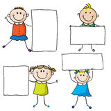Kids with banners. Or sheet paper Vector Illustration