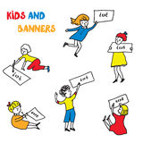 Kids and banners sketches set Stock Images