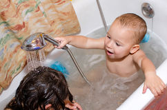 Brother And Sister Take A Bath Royalty Free Stock