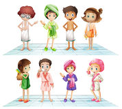 Kids in the bathroom Royalty Free Stock Photography