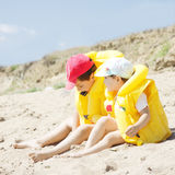 Kids on beach Royalty Free Stock Photos