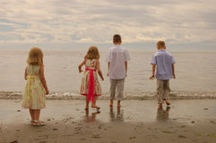 Kids At The Beach. Kids playing at Esquimalt lagoon stock photos