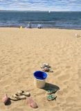 Kids on the beach. Kids shed their shoes and enjoy the beach Royalty Free Stock Photos