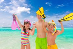 Kids on the beach stock photography