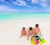 Kids on the beach stock image