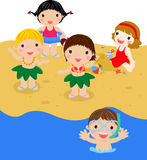 Kids on beach Stock Photos