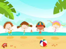 Kids At The Beach. Kids Having Fun At The Beach Royalty Free Stock Photos