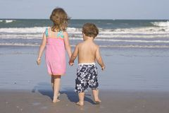 Kids on a beach Royalty Free Stock Photos