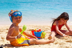 Kids at the beach royalty free stock photos