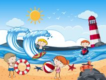 Kids with Beach Activities in Sunny Day. Illustration Royalty Free Stock Images