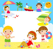 Kids at the Beach with banner Stock Images