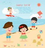 Kids on the beach , children playing on the beach,childrens summer activities. Vector Illustration Stock Photo