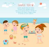 Kids on the beach , children playing on the beach,childrens summer activities Royalty Free Stock Photography
