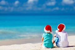 Kids at beach on Christmas Royalty Free Stock Photo