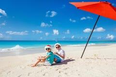 Kids at beach on Christmas Stock Image
