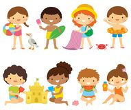Kids at the beach clipart set stock images