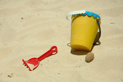 Kids Beach Fun. Kid's sand pail and bucket Stock Photo