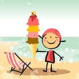Kids on beach with icecream Royalty Free Stock Image