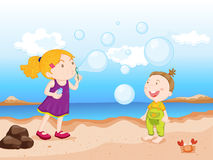 Kids at beach Stock Photography