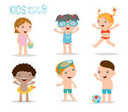 Kids on the beach , kids playing outside. Vector Illustration Stock Photo