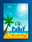 Kids beach party. Poster template. Seascape vector illustration Stock Photography