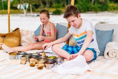 Kids at beach picnic. Kids brother and sister on a tropical beach having picnic Royalty Free Stock Photo