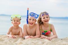 Kids on beach royalty free stock photos