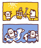 Kids on beach & sea royalty free illustration
