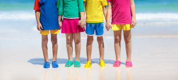 Free Kids Beach Shoes. Children Summer Sea Footwear Royalty Free Stock Photography - 140282557