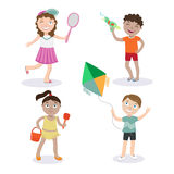 Kids on the Beach. Summer Children with Toys Stock Images