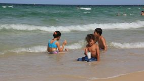 Kids on the beach stock footage