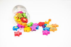 Kids beaded jewellery parts isolated Royalty Free Stock Image
